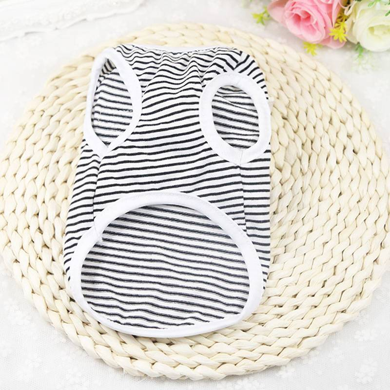 Cat's Summer Striped Cotton T-Shirts Cat Clothing Cats & Dogs