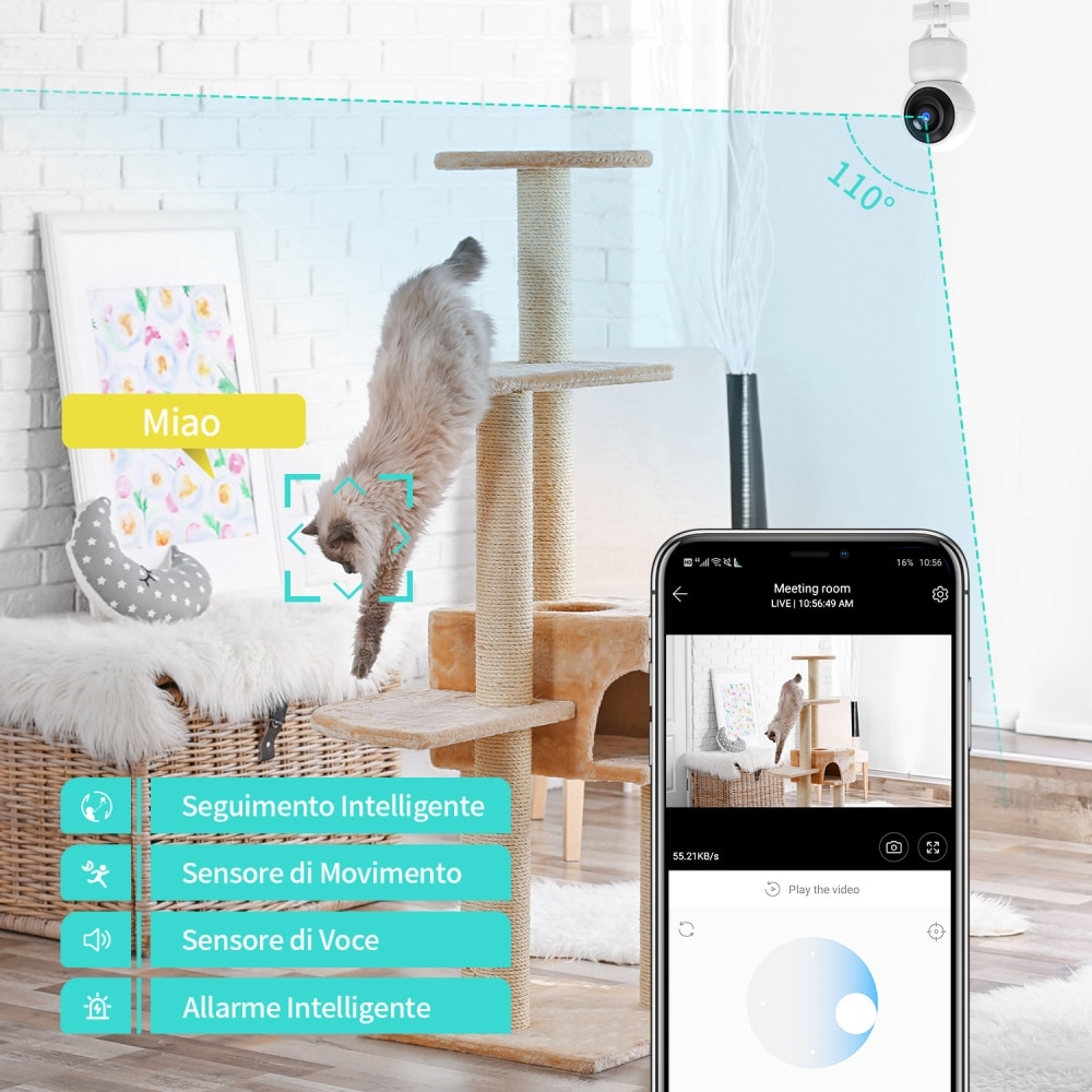 HeimVision H203 1080P IP Camera WiFi Wireless Surveillance Cam PTZ 2 Way Audio Night Vision Baby Pet Motion Detect Cloud Service Accessories Cats & Dogs