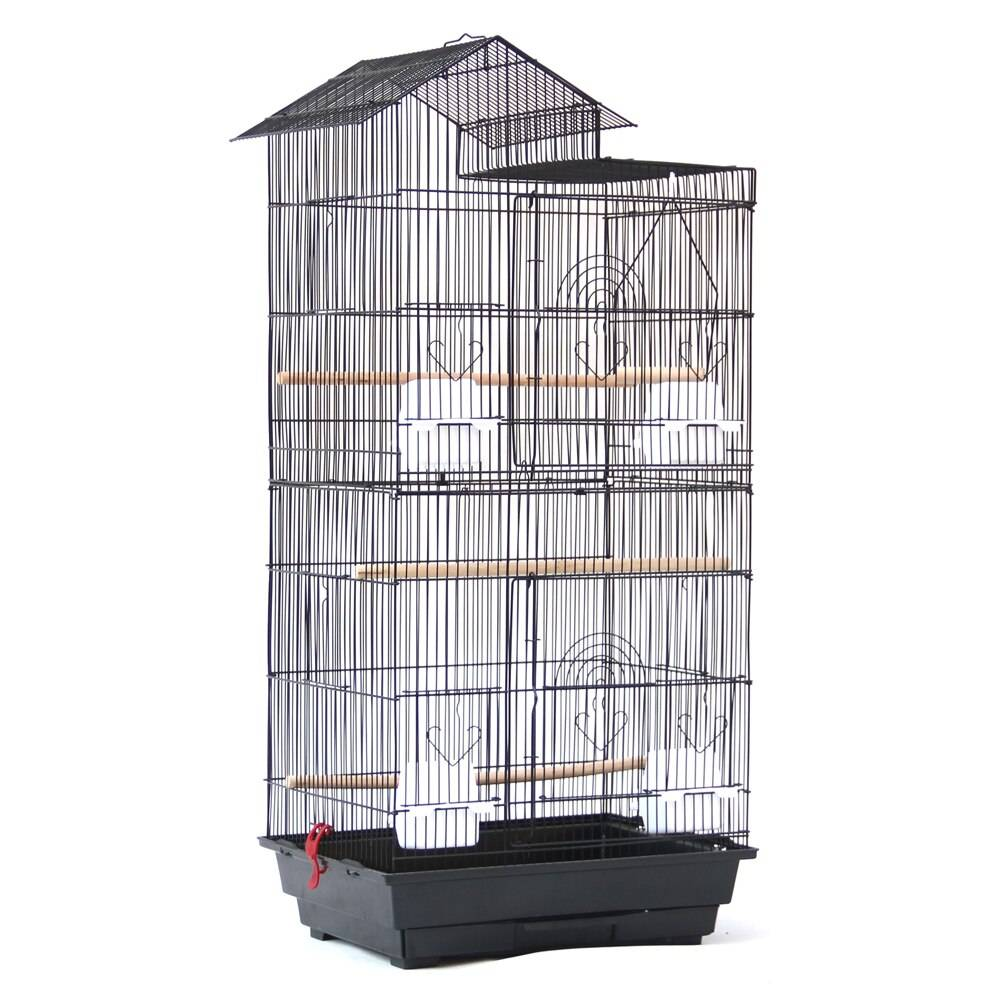 39″ Bird Parrot Cage Canary Parakeet Cockatiel LoveBird Finch Bird Cage with Wood Perches & Food Cups Black Bird Cages & Nests Birds Supplies