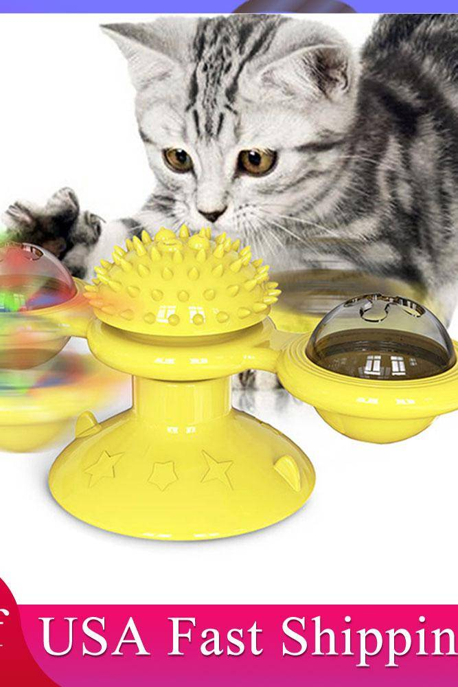Windmill Cat Toy LED Turntable Teasing Pet Toy Interactive Whirling Puzzle Training Cat Scratching Tickle Kitten Play Game Toys Cat Toys