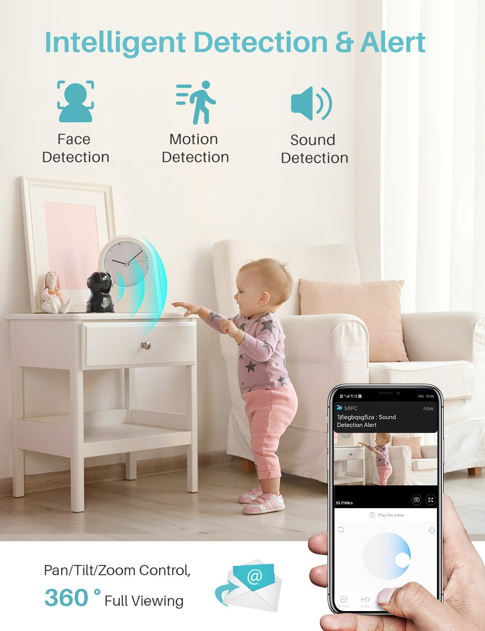 HeimVision HM302 3MP 2K Wireless Security IP Camera PTZ Indoor WiFi Pet IP Camera Support Motion/Face Dection Works with Alexa Accessories Cats & Dogs