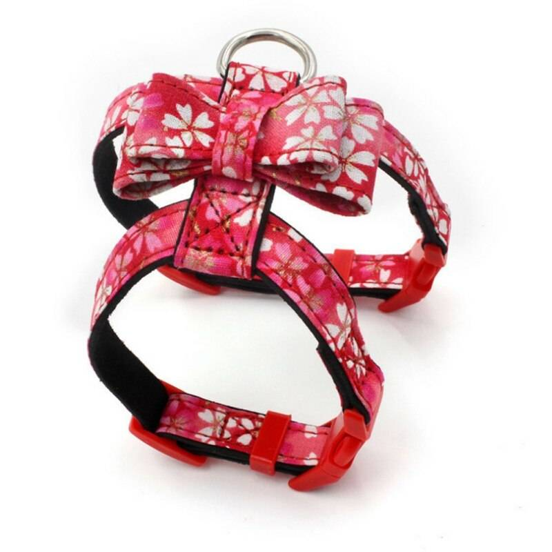 Bowknot Cat Collar Japanese Style Printed Necklace Adjustable Small Dog Puppy Kitten Collars Pet Accessories