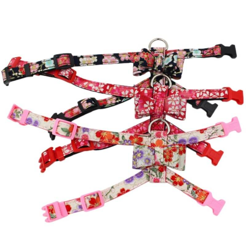 Bowknot Cat Collar Japanese Style Printed Necklace Adjustable Small Dog Puppy Kitten Collars Pet Accessories Cats & Dogs Pet Collars, Harnesses & Leashes